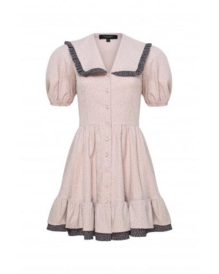 Платье с отрезным воротником (ПУДРА)