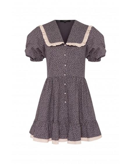 Платье с отрезным воротником (ГРАФИТ)